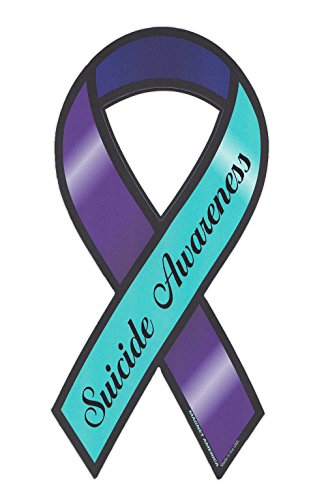 Suicide Awareness Ribbon (Magnetic Bumper Sticker - Suicide Awareness - Ribbon Shaped Support Magnet - 4