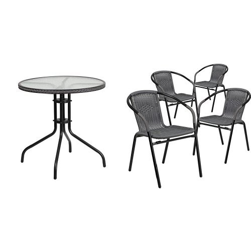 Flash Furniture 28 Round Glass Metal Table with Gray Rattan Edging and 4 Gray Rattan Stack Chairs