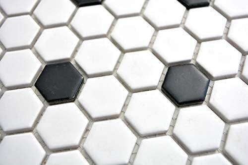 Mosaik Fliese Keramik Hexagon schwarz wei/ß matt Fliesenspiegel K/üche MOS11A-0301