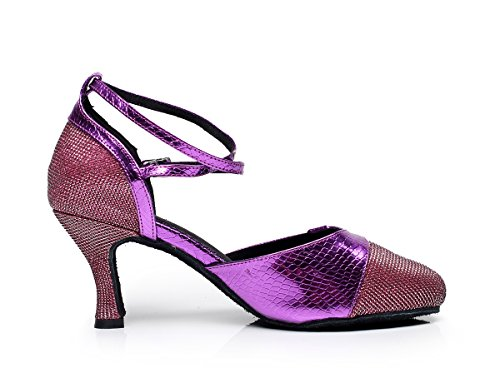 Latin Women's Shoes Satin Purple Salsa Color 7 QJ6227 M US Block Minishion Dance xYTBwn