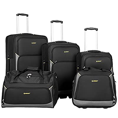 Newest 5 Piece Softshell Deluxe Expandable Rolling Luggage Set