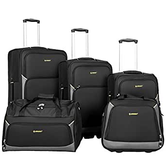 Newest 5 Piece Luggage Set Softshell Deluxe Expandable Rolling Suitcase