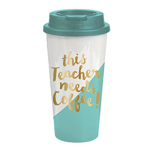 This Teacher Needs Coffee - 16 oz Insulated Travel Coffee Tumbler - Makes The Perfect Teacher Appreciation Gift or End Of Year Teacher Gift
