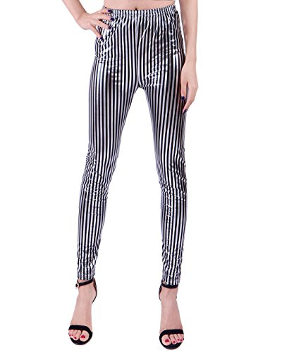 Black Metallic Stripe (HDE Women's Silver Liquid Wet Look Leggings Digital Print Metallic Stretch Pants (Black Stripe, Small))