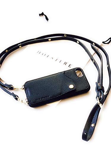 (Leather iPhone Case Crossbody - Phone Purse Cross Body w/Wallet ID Card Holder Black; Anti-Drop Leash; Travel; Durable; Carry (iPhone XS Max, Chain & Leather Strap))