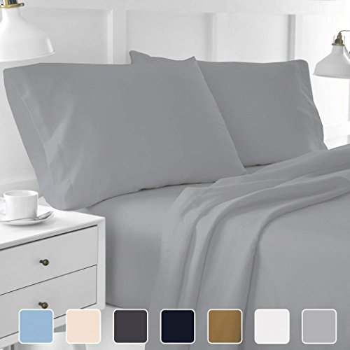 Cottington Lane 400 Thread Count Sateen Weave Sheen & Softer Feel 4 Pieces Bed Sheet Set 100% Cotton Super Finish fit Mattress up to 15 Inches deep Pocket (Full XL, Light Grey)