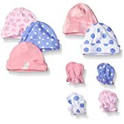 Gerber Baby 9 Piece Cap and Mitten Bundle, Leopard, New Born