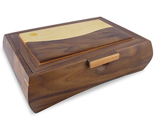 Maple Tall Chest - American Made Men's Valet Box, Walnut Wood with Contemporary Landscape Inlay, 12.25 x 8.5