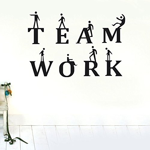 Team Work Quote Wall Decals Meaningful Vinyl Removable Art for Office Decoration Business Cooperation Creative Decal Murals(24''x34'',black)) by ttart