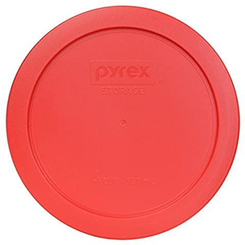 Pyrex 7201-PC Round 4 Cup Storage Lid for Glass Bowls (1, Light Red) - Light Green Bowl