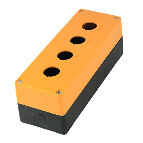 ZXHAO 22mm / 0.9 inch 4 Button Hole Waterproof Push Button Switch Control Station Box Orange and Black