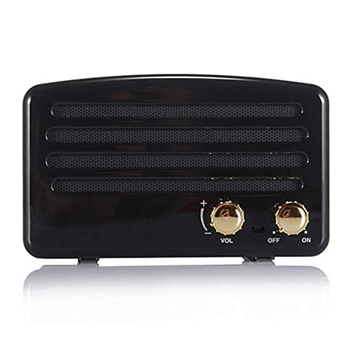 Wireless Bluetooth Retro Speaker, Portable Vintage Speaker with FM Radio, Built-in Mic for Hands-Free Phone Call, 7-8 Hrs Playtime, TF Card, USB & Aux Line-in Support for Apple/Android (Carbon Black)