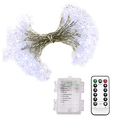 Abba Patio 23ft 100LED String Lights 8 Modes Remote Control, Battery Operated Dimmable Snowflake Lights for Patio, Garden, Gate, Yard, Party, Wedding, ()
