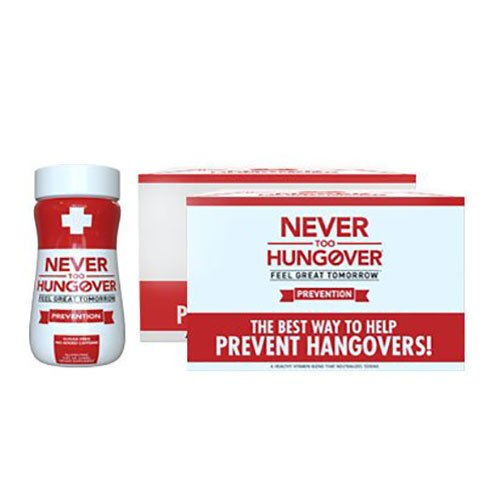 Never Too Hungover - 12 Pack - 3.4 Oz Bottles - Hangover Prevention Drink - Sugar Free - Low Calorie - Gluten Free - No Caffeine - Rich in Antioxidants & Electrolytes