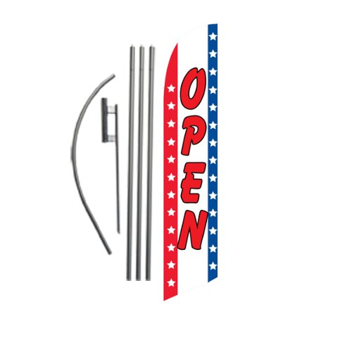 Open (stars/stripes) 15ft Feather Banner Swooper Flag Kit - INCLUDES 15FT POLE KIT w/ GROUND - Star Feather