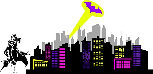 (Chic Walls Removable Batgirl Silhouette Logo City skyline Ray Of Light Wall Art Décor Decal Vinyl Sticker Mural)