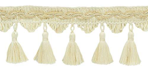 Ivory Tassel Fringe - DÉCOPRO 5 Yard Value Pack of Veranda Collection 3.5 Inch Tassel Fringe Trim - Ecru, Ivory, Cream, Style# VTF035, Color: Light Sand - VNT2 (4.5M / 15 Ft)
