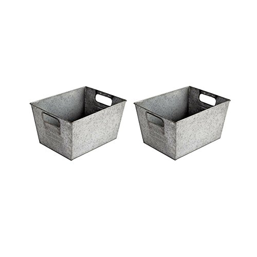 Better Homes and Gardens Small Galvanized Bin, Silver (2 Pack)