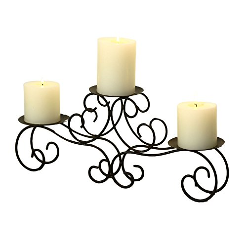 Adeco HD0022 Brown Bronze Iron Table Desk Top Candle Holder, Scroll Design, Fleur De Lis Layout, Vine Shoot Base, Holds 3 Pillar Candles, Black with Antique Finish