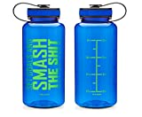 34 oz Inspirational Fitness Workout Sports Water Bottle with Time Marker | ...