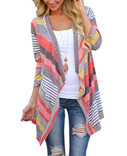 Sweater Asymmetrical Striped (kiden Women's 3/4 Sleeve Loose Cardigan Striped Geometric Printed Open Front Draped Kimono Cardigan red XL)