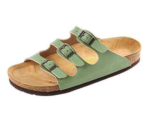 Dilize Women's Beach 3-Strap Buckled Slip On Cork Sandals Shoes Army Green bImviHZrZ4
