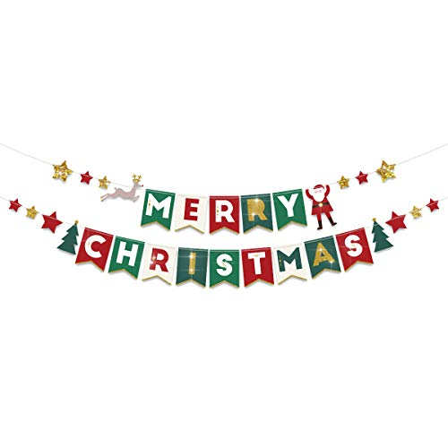 NICORLANDEE Christmas Decorations - Gold Glitter Merry Christmas Garland Banner Sign with Santa Claus Reindeer Trees Star Ornament 7 x 5-1/2 Inch for Holiday Home Wall Room Decor ()