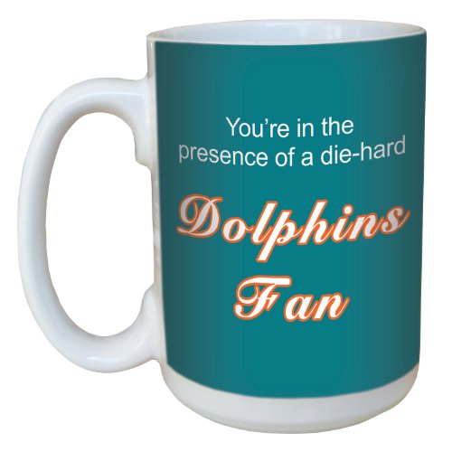 Tree-Free Greetings lm44124 Dolphins Football Fan Ceramic Mug with Full-Sized Handle, 15-Ounce
