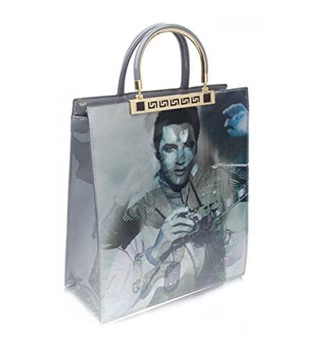 Handbags SILVER Leather For Women's Print Elvis School Work Travel Shopping Elvis LeahWard Faux Image College Monroe Patent 8aBtpqxH