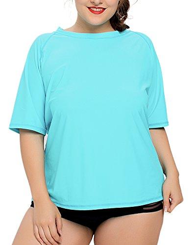 V FOR CITY Ladies Plus Size Solid UPF 50+ Active Rashguard Swim Shirt Swimsuit Top 2X Aqua by V FOR CITY
