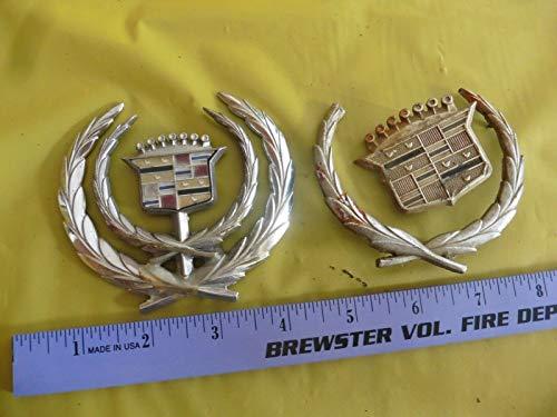 - Lot of Cadillac Parts Logo emblem hood ornament chrome car detail FOR PARTS