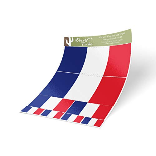 Desert Cactus France Country Flag Sticker Decal Variety Size Pack 8 Total Pieces Kids Logo Scrapbook Car Vinyl Window Bumper Laptop V - France Country Flag