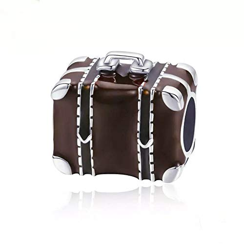 Sterling Silver Camera Charm - ABAOLA Travel Charm 925 Sterling Silver Camera Charm Suitcase Beads fit Pandora Charms Bracelet & Necklace (Brown)