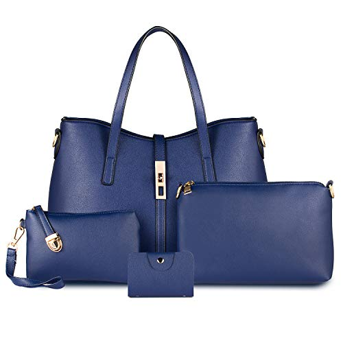 Bag Seeker Fashion Women Synthetic Leather Handbags Shoulder Bag Messenger Bag Purses Card Holder - 4 Sets Tote(Women's Bag, Blue)