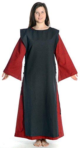 Dunkelrot Damen Leinenstruktur Baumwolle Damenkleid S mit dunkelrot Mittelalter mit HEMAD Skapulier Kleid schwarz XL 7wxq4nvRd