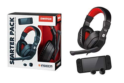 🥇 Indeca Pack Gaming Nintendo Switch: Headset + joycon Grips + Cristal | Cascos ergonómicos con Sonido estéreo y micrófono | Fundas Protectoras para Joystick | Cristal Templado Protector de Pantalla