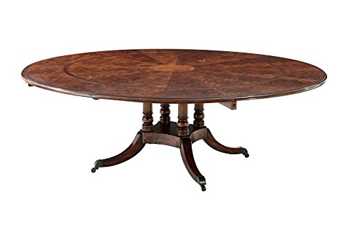 English Georgian America Mahogany Circular Extending Dining Table, Antique Reproduction Dining Table ()