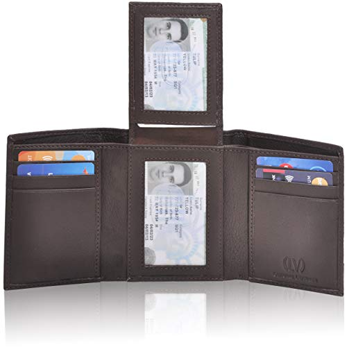 Genuine Leather Mens RFID Blocking Slim Trifold Wallet with Middle Flap 9 Cards+ 2 ID Window + 2 Note Compartments. (Brown Nappa)