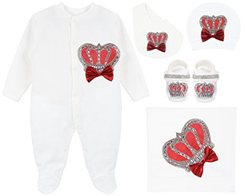 Lilax Baby Boy Newborn Jewels Crown Take Me Home Layette 5 Piece Deluxe Gift Set Burgundy