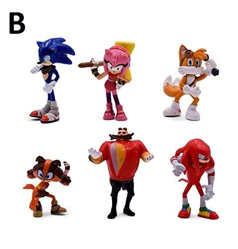 PAPRING Set 6 Sonic Boom Toys 1.5 - 2.7 inch PVC Action Figure Shadow Amy Rose Small Toy Mini Figures Christmas Halloween Birthday Gifts Cute Doll Animal Collection Collectible for Kids Adults (B)