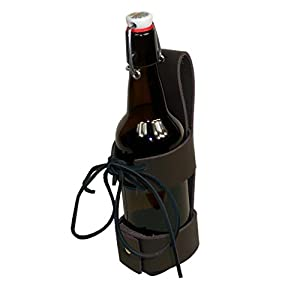 Deluxe Leather Cup Can Water Bottle Drink Holder Brown 48-201252-BR (Brown)