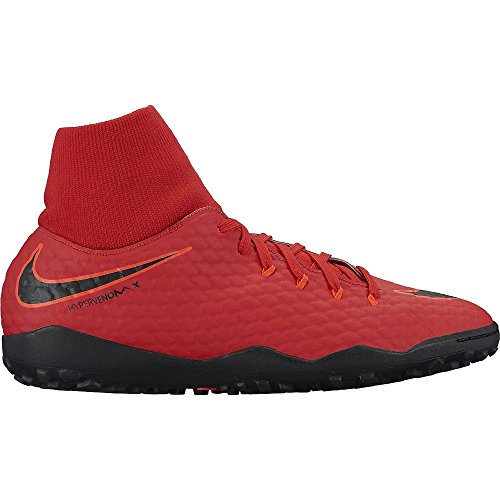 Nike Hommes Hypervenomx Phelon 3 Df Tf Football Turf Chaussure Université Rouge / Noir / Brillant Cramoisi