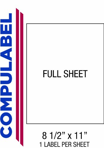 Compulabel Full Sheet Labels for Laser and Inkjet Printers, 8 1/2 x 11 Inches, Permanent Adhesive, 1 per Sheet, 250 Sheets per Carton (332100)