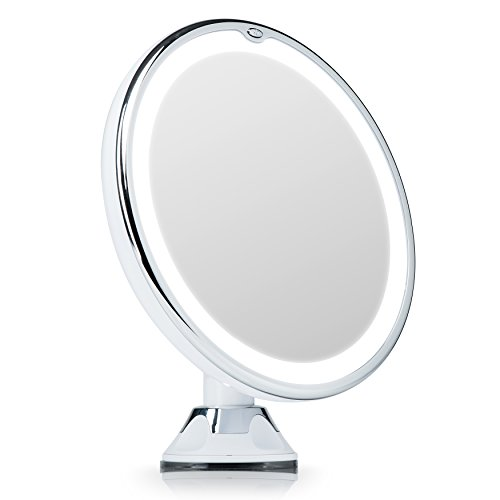 Fancii 7X Magnifying Lighted Vanity Makeup Mirror with 20 Natural LED Ring Lights, Locking Suction Cup, Cordless Travel Cosmetic Mirror - Maya 7