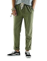 SOIXANTE Men's Casual Linen Pants Elastic Waist Trousers with Drawstring XS-2XL