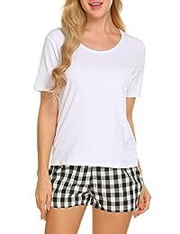 Ekouaer Women's Sleepwear Short Sleeve Top and Plaid Pajama Shorts Set S-XXL