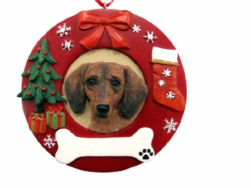 E&S Pets Red Dachshund Personalized Christmas Ornament