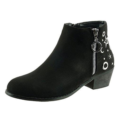 Angkorly - damen Schuhe Stiefeletten - Reitstiefel - Kavalier - Reißverschluss - Stern - Nieten - besetzt Blockabsatz high heel 5 CM Schwarz