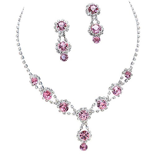 (Stunning Y Drop Evening Party Lite Pink Crystal Necklace Earring Bling Rhinestone A6)