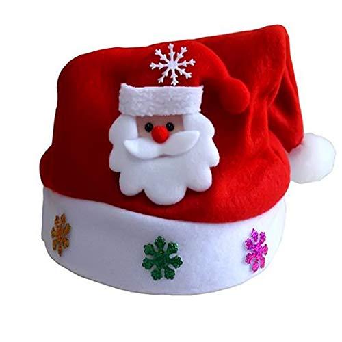 happy-Adultparadise Christmas Glowing Hats Santa Claus Snowman Elk Children Cap for Christmas Party,Santa Claus,24x30cm